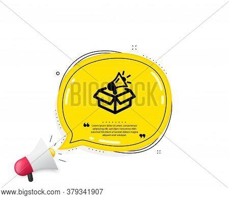 Megaphone Box Icon. Quote Speech Bubble. Advertisement Device Symbol. Brand Ambassador Sign. Quotati