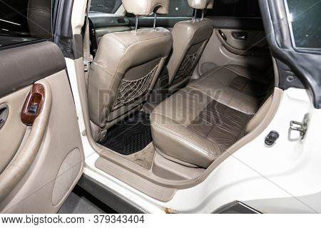 Novosibirsk/ Russia - August 01 2020: Subaru Outback, Rear Seat For Passengers In Beige Leather. Com
