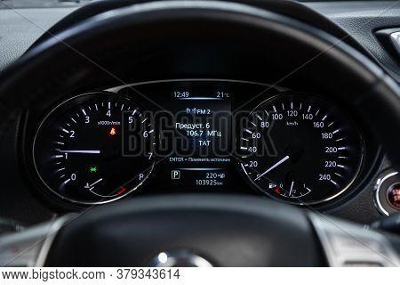 Novosibirsk/ Russia - August 01 2020: Nissan X-trail,car Panel, Digital Bright Speedometer, Odometer