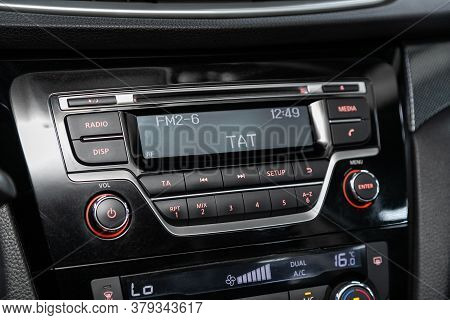 Novosibirsk/ Russia - August 01 2020: Nissan X-trail, Auto Interior, Car Stereo Audio System Front P