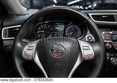 Novosibirsk/ Russia - August 01 2020: Nissan X-trail, Cockpit Interior Cabin Details, Speedometer An
