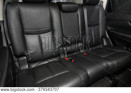 Novosibirsk/ Russia - August 01 2020: Nissan X-trail, Rear Seat For Passengers In Black Leather. Com