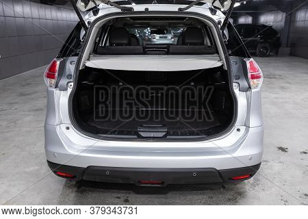 Novosibirsk/ Russia - August 01 2020: Nissan X-trail, Rear View Of A Car With An Open Trunk. Exterio