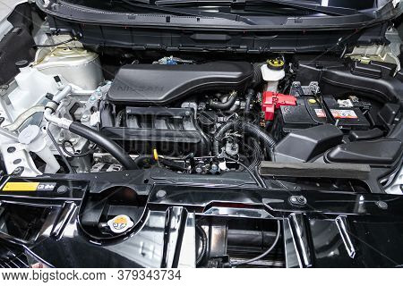 Novosibirsk/ Russia - August 01 2020: Nissan X-trail, Close Up Of A Clean Motor Block. Internal Comb