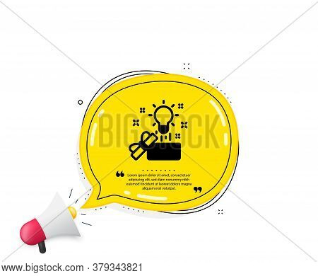 Out Of The Box Icon. Quote Speech Bubble. Creativity Sign. Gift Box With Idea Symbol. Quotation Mark