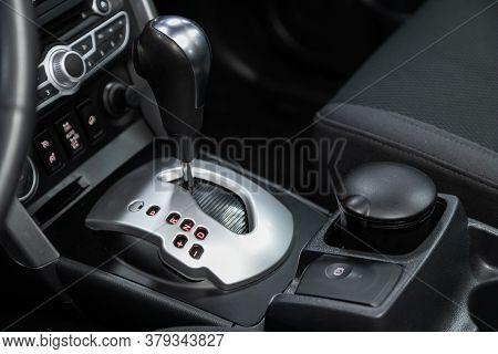 Novosibirsk/ Russia - August 01 2020: Renault Koleos, Gear Shift. Automatic Transmission Gear Of Car