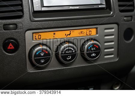 Novosibirsk/ Russia - August 01 2020: Nissan Navara, Black  Detail With The Air Conditioning Button