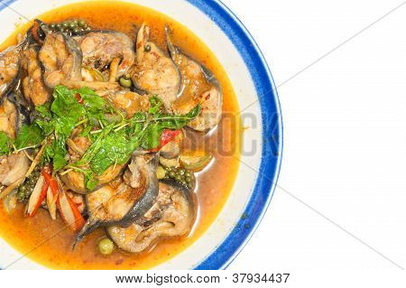 Fried catfish thai food on white background poster