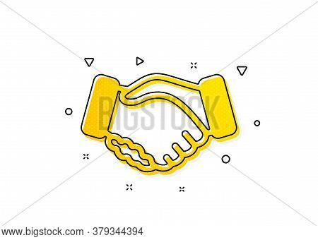 Hand Gesture Sign. Handshake Icon. Business Deal Palm Symbol. Yellow Circles Pattern. Classic Handsh