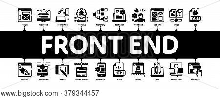 Front End Development Minimal Infographic Web Banner Vector. Front End It Sphere, Html And Css Code,