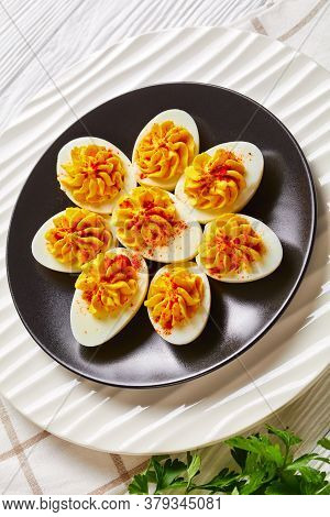 American Hard-boiled Eggs Stuffed With A Mix Of Egg Yolks, Dijon Mustard, Mayonnaise, Apple Cider Vi