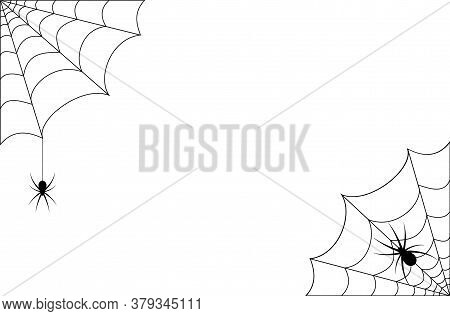 Spider Web Or Cobweb In The Corners With Spiders. Spooky Vector Illustration For Halloween.