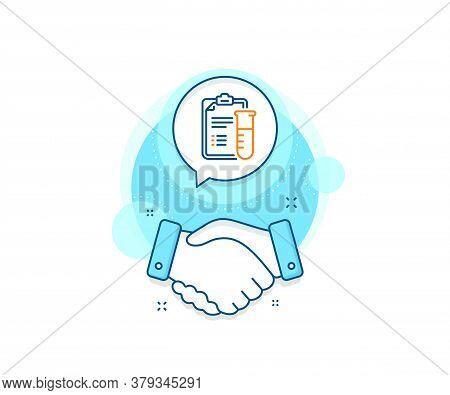 Medicine Beaker Sign. Handshake Deal Complex Icon. Medical Analyzes Line Icon. Pharmacy Medication S