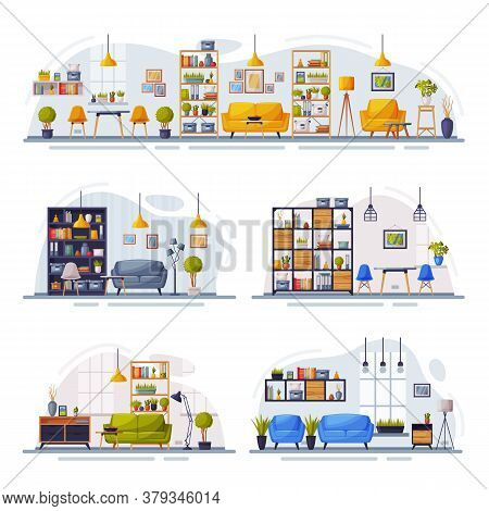 Cosy Room Interiors Design Collection, Modern Apartments With Comfy Furniture Vector Illustration