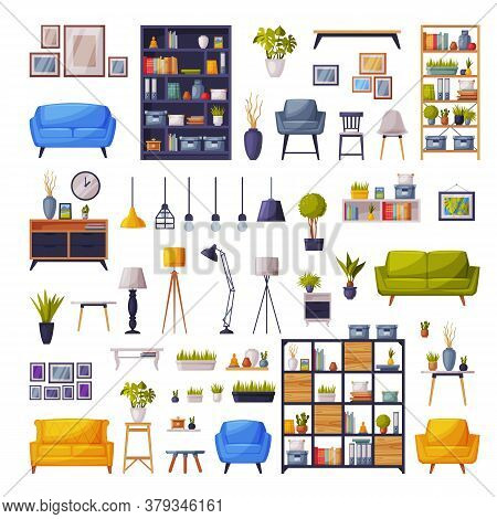 Comfy Furniture And Home Decor Collection, Cozy Modern Home Apartment Interior Design Vector Illustr