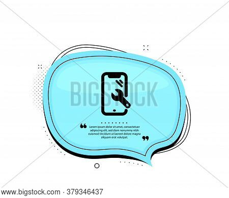 Smartphone Repair Icon. Quote Speech Bubble. Phone Recovery Sign. Mobile Device Symbol. Quotation Ma