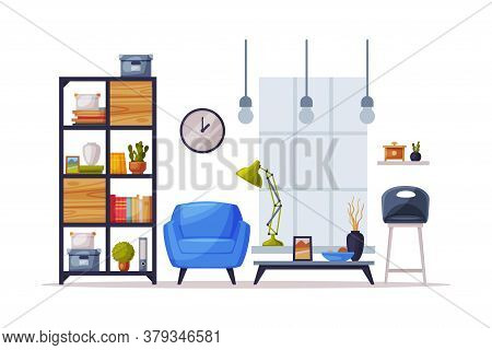 Cozy Room Interior Design With Comfy Furniture And Home Decoration Accessories In Trendy Style, Book