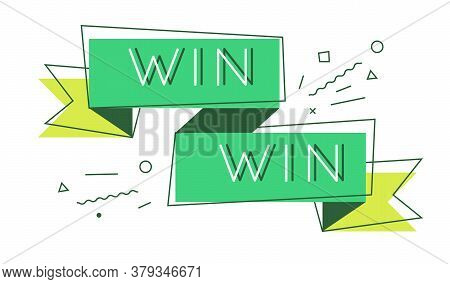 Win-win Solution Concept. Simple Line Vector Illustration With Text.