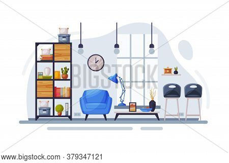 Modern Room Interior Design, Cozy Apartments With Comfy Furniture And Home Decor, Bookcase, Armchair