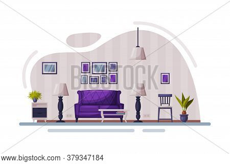 Modern Room Interior Design, Cozy Apartments With Comfy Furniture And Home Decor, Sofa, Coffee Table