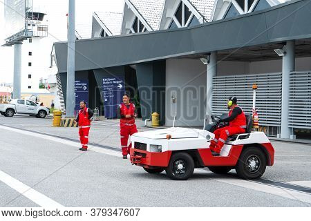 Special Transport At The Airport. Car For Towing Aircraft To The Runway. Langkawi, Malaysia - 07.18.