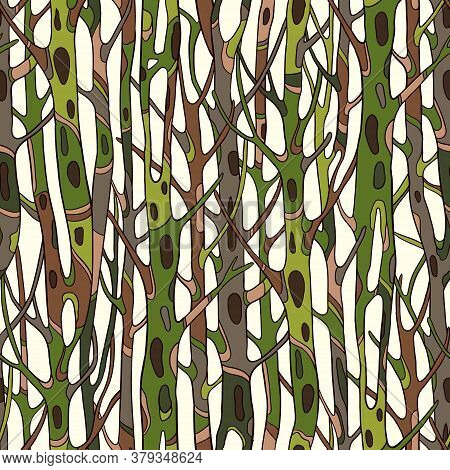 Vector Seamless Pattern With Green Tree Trunks