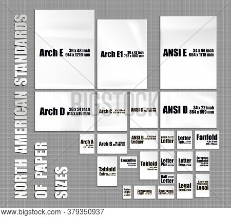 Full Set Of American Paper Sheets Standards Of Series Arch, Ansi, Format Letter, Ledger, Tabloid. Mo