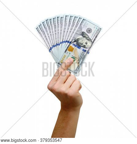 Hand with US dollars isolated on white background.