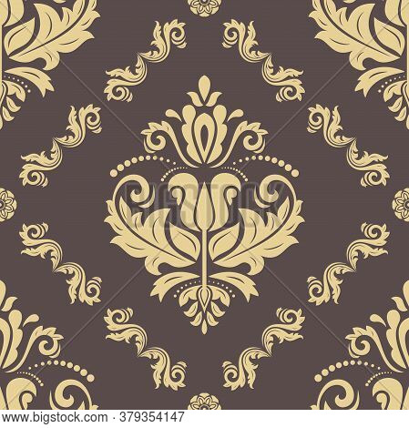 Classic Seamless Vector Pattern. Damask Orient Ornament. Classic Golden Vintage Background. Orient O