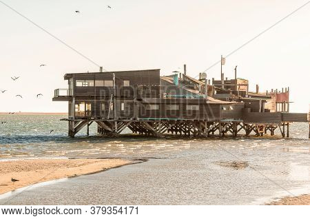 Walvis Bay, Namibia - June 8, 2011: The Raft, A Restaurant On Stilts In The Lagoon In Walvis Bay On