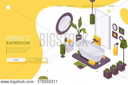 Landing Page Isometric Bathtub Interior. 3d Interior Scene With Burning Candles And Bathroom Accesso