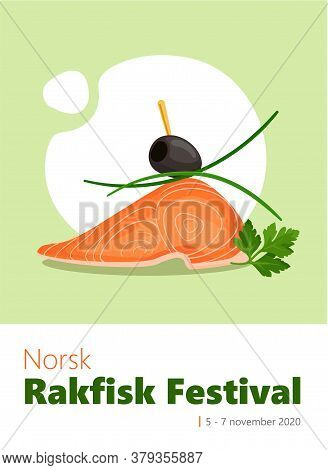 Rakfisk Festival Colorful Vertical Vector Banner Template With Tasty Salmon, Parsley, Leek And Olive