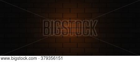 Empty Brick Wall With Orange Neon Light With Copy Space. Lighting Effect Orange Color Glow On Brick