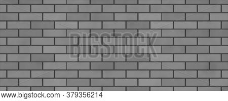 Empty Brick Wall With Grey Color  With Copy Space. Beautiful Brick Wall Grey Color On Blank Backgrou
