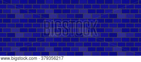 Empty Brick Wall With Blue Color With Copy Space. Beautiful Brick Wall Blue Color On Blank Backgroun