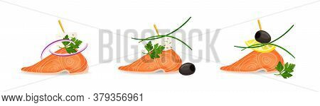 Colorful Vector Illustration Of Tasty Salmon Canapes With Parsley, Leek, Onion, Olive, Cheese And Le