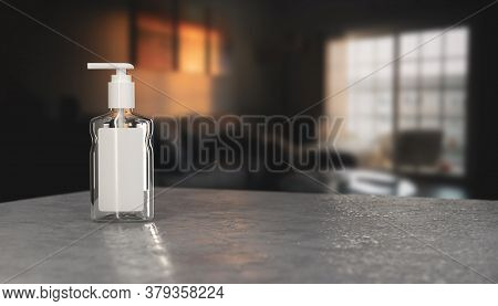 Realistic sanitizer gel bottle with pump. Gel or cream bottle dispenser. Pump container template. Ha