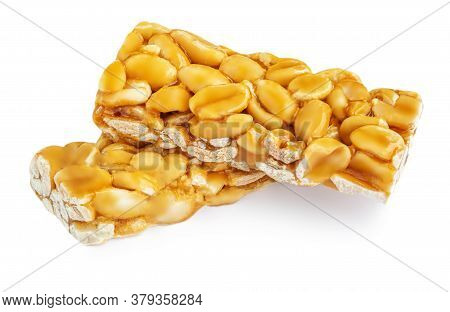 Superfood Breakfast Bars  With Caramel  Isolated On White Background. Cereal Energy Muesli Bar Top V