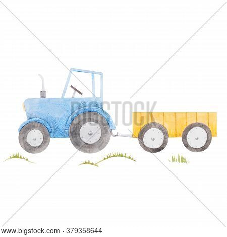 Beautiful Stock Illustration With Cute Watercolor Blue Farm Tractor.
