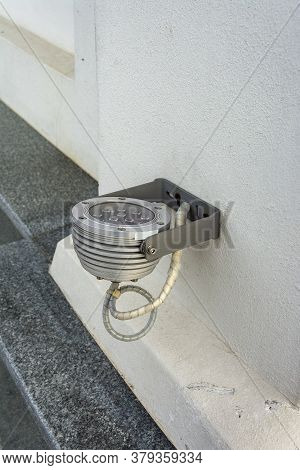 Led Floodlight For Building Illumination. Outdoor Led Lighting. Energy Saving Technology Concept.