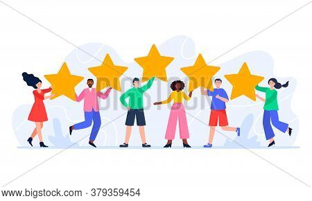 People Are Holding Five Stars And Giving Positive Feedback. Happy Clients Evaluating App, Product, S
