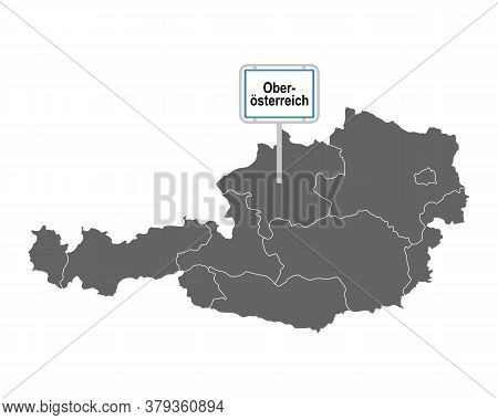 Detailed And Accurate Illustration Of Map Of Austria With Road Sign Of Ober