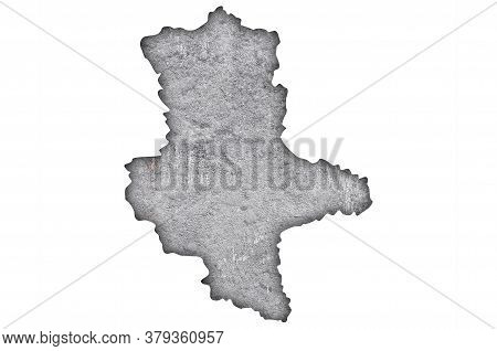 Detailed And Colorful Image Of Map Of Saxony-anhalt On Weathered Concrete