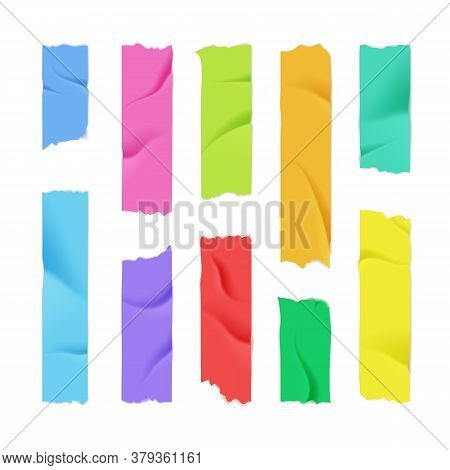 Realistic 3d Detailed Color Adhesive Or Masking Tape Set Torn Pieces For Fixing Notes. Vector Illust