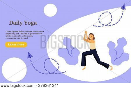 Daily Yoga Concept Illustration, Perfect For Web Design, Banner, Mobile App, Landing Page, Vector Fl