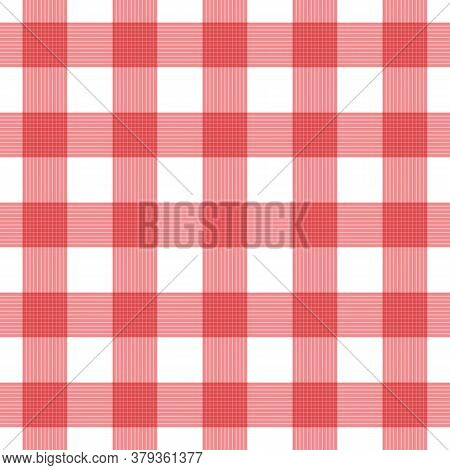 Vector Seamless Plaid Checkered Gingham Pattern Background. Red White Fabric Texture. Abstract Geome