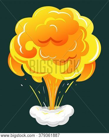 Bomb Explosion, Dynamite Burst, Danger Explosive Material, Fireball And Cloud. Game Animation Isolat