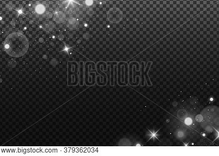 Lights Bokeh Isolated On A Dark Transparent Background. Shining White Stars And Glare. Footage For Y