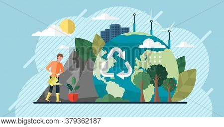 Change Climate Concept. Vector Of Climate Change And Saving The Planet, World Environment Day, Bio T