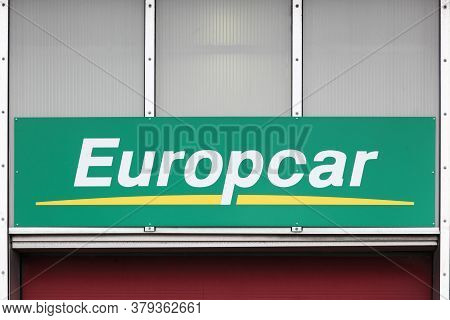 Billund, Denmark - February 20, 2019: Europcar Logo On A Wall. Europcar Is A French Car Rental Compa